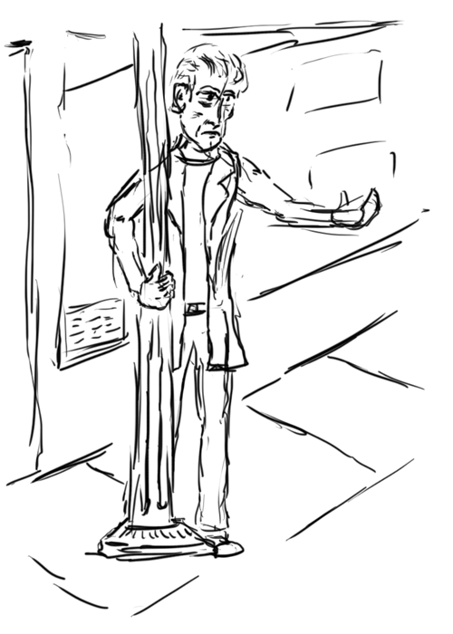[quick sketch of a guy next to a light pole]