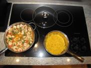 [Cooking the shrimp and yellow rice]